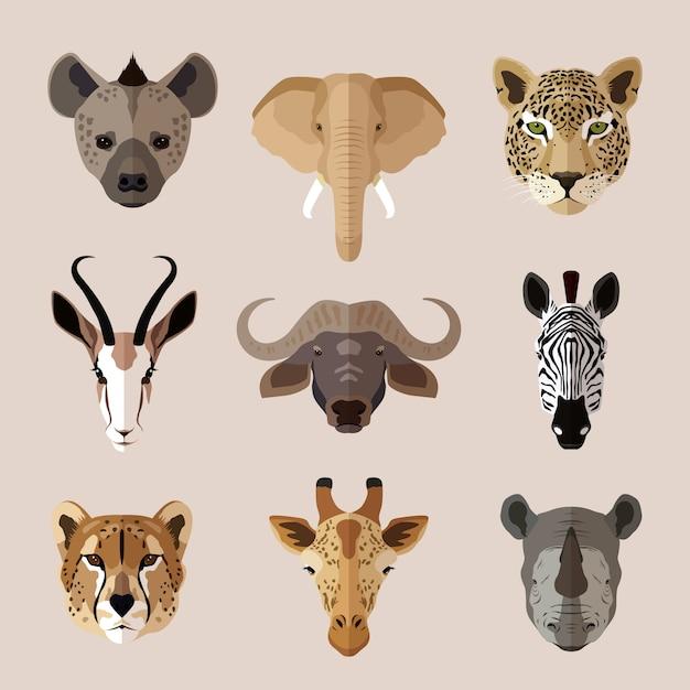 アフリカの動物の頭を設定します。ハイエナ、ゾウ、ジャガー、ガゼル、バッファロー、シマウマ、ヒョウ、キリン、サイ 無料ベクター