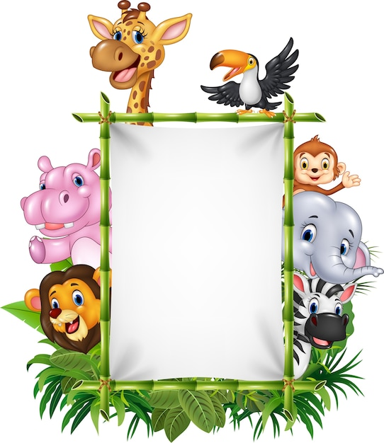 African animal with blank sign with nature concept Premium Vector