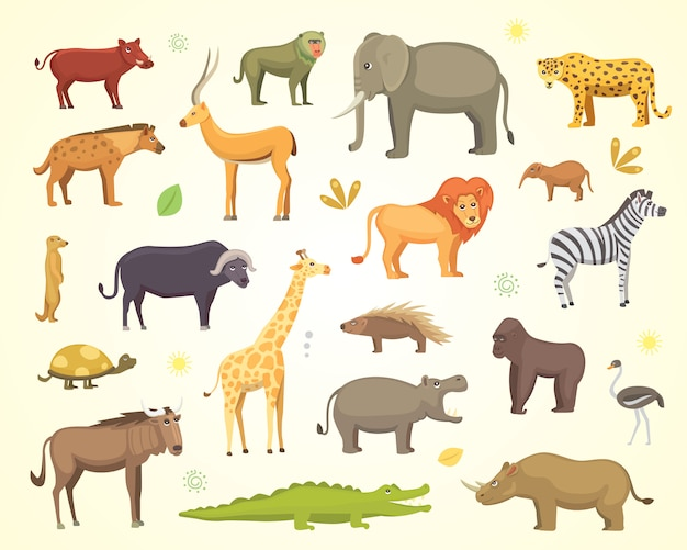 African animals cartoon set. elephant, rhino, giraffe, cheetah, zebra, hyena, lion, hippo, crocodile, gorila and others. Premium Vector