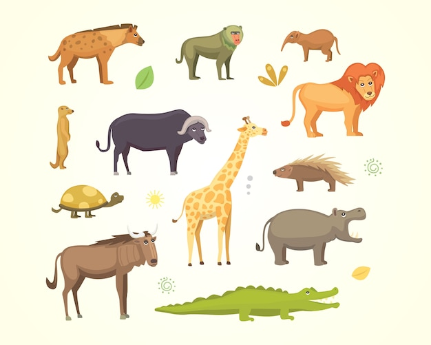 African animals cartoon  set. elephant, rhino, giraffe, cheetah, zebra, hyena, lion, hippo, crocodile, gorila and outhers. safari  illustration. Premium Vector
