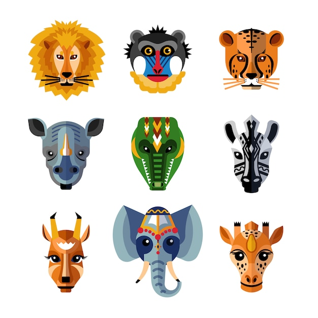 African Animals Heads Masks Flat Icons  Free Vector