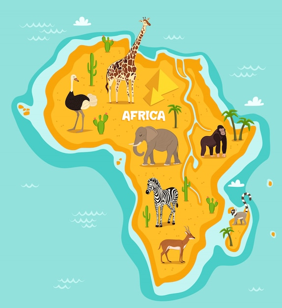 African animals wildlife vector illustration Premium Vector
