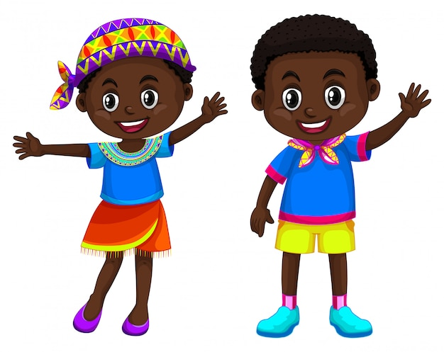African boy and girl smiling Free Vector