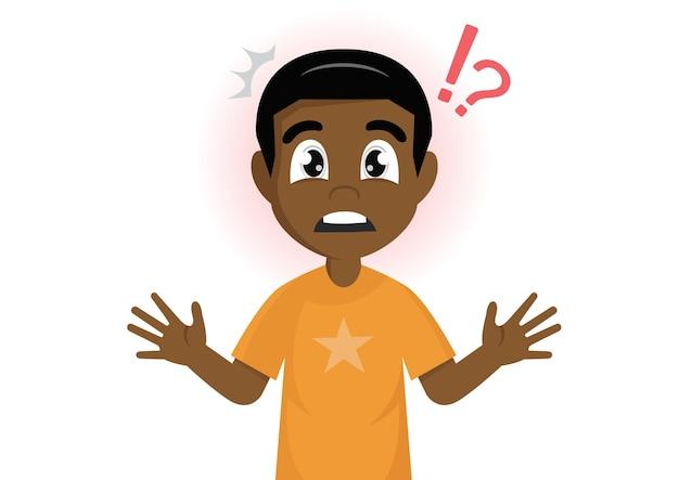 African boy mark shocked Premium Vector