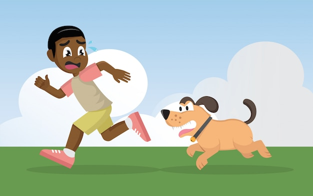 African boy running away from angry dog. Premium Vector