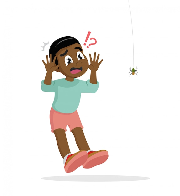 African boy scared of spider. Premium Vector