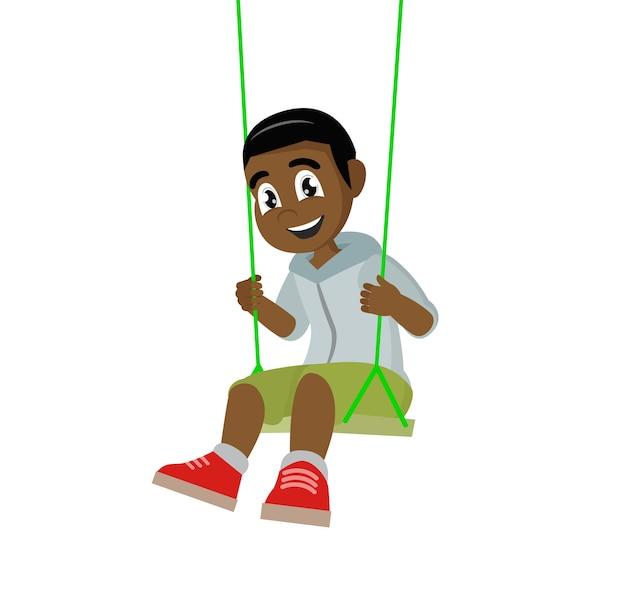 African boy on swing. Premium Vector