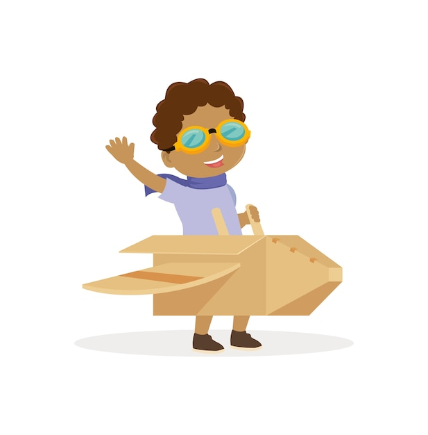 African boy use eyeglasses and play with airplane toy Premium Vector