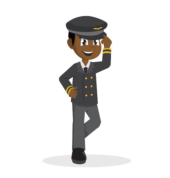 African boy using pilot costume. Premium Vector