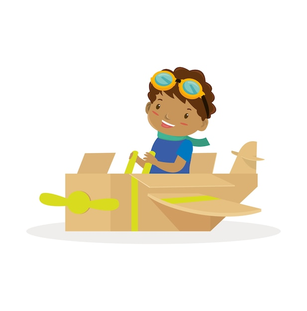 African boy with the airplane toy Premium Vector