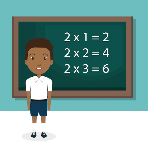 African boy with chalkboard classroom character Free Vector