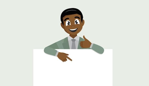 空白のバナー、人差し指、ジェスチャーの親指を示すアフリカのビジネスマン。 Premiumベクター
