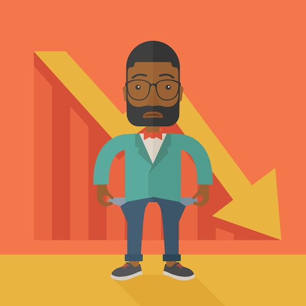 African businessman failed. Premium Vector