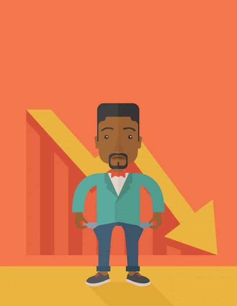 African businessman failed. Premium Vector