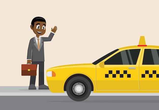 African businessman hailing a taxi. Premium Vector