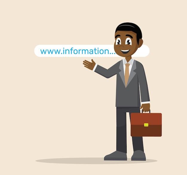 African businessman pointing to website address. Premium Vector