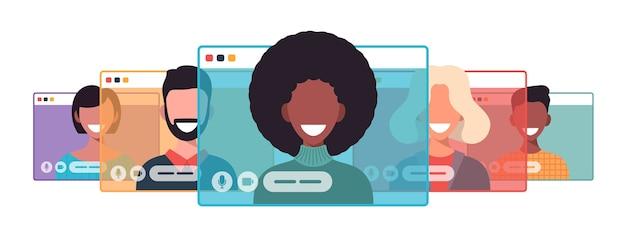 Videocall에서 아프리카 사업가입니다. 컴퓨터 창 통신 온라인 회의 개념 프리미엄 벡터