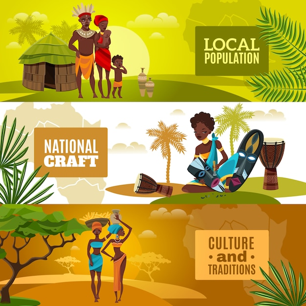 African culture flat horizontal banners set Free Vector