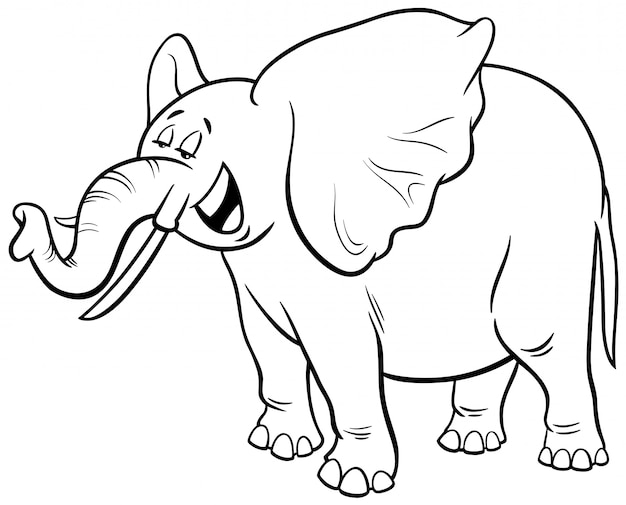 African elephant cartoon character coloring book Vector ...