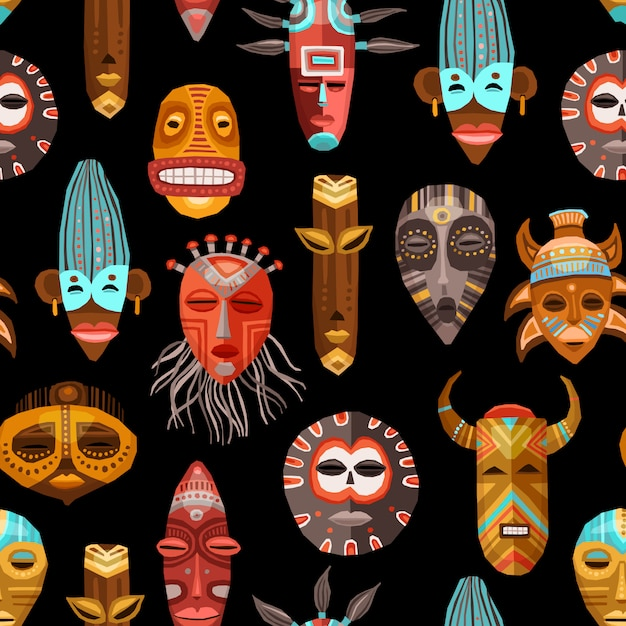 African ethnic tribal masks seamless pattern Free Vector