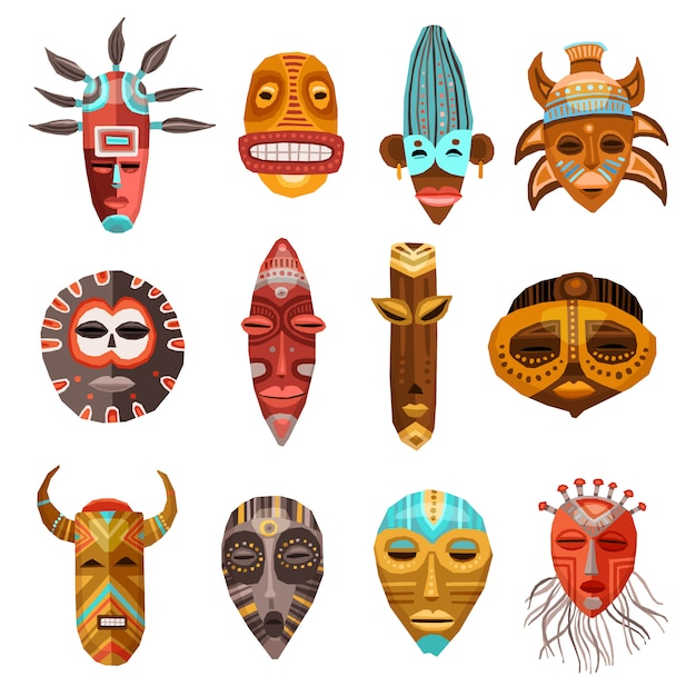 African ethnic tribal masks set Free Vector