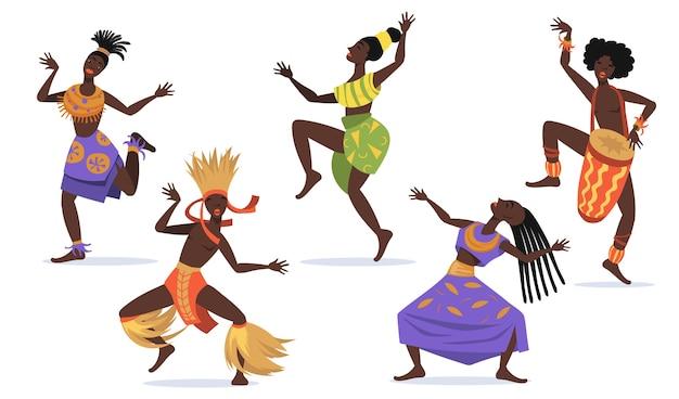 아프리카 여성 댄서 평면 웹 디자인을위한 설정합니다. 민속 또는 의식 댄스 고립 된 벡터 일러스트 레이 션 컬렉션 춤 만화 원주민 사람들. 부족 춤과 아프리카 개념 무료 벡터