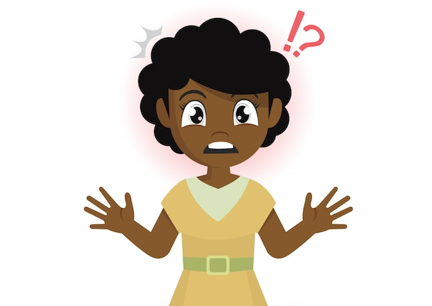 African girl stands in shock. Premium Vector