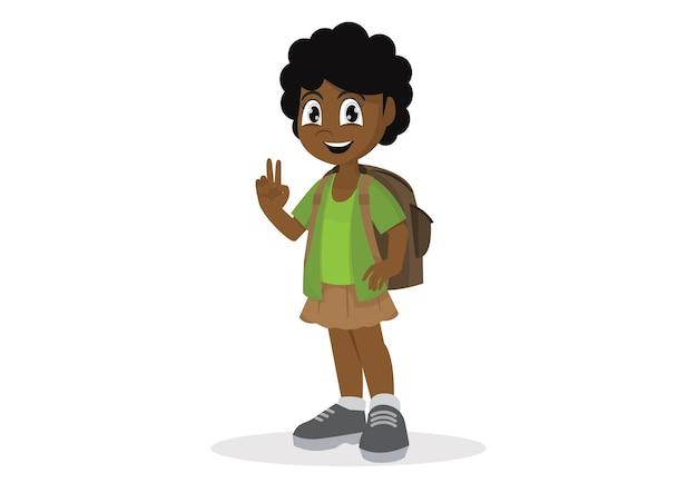 African girl with a school satchel show two fingers Premium Vector