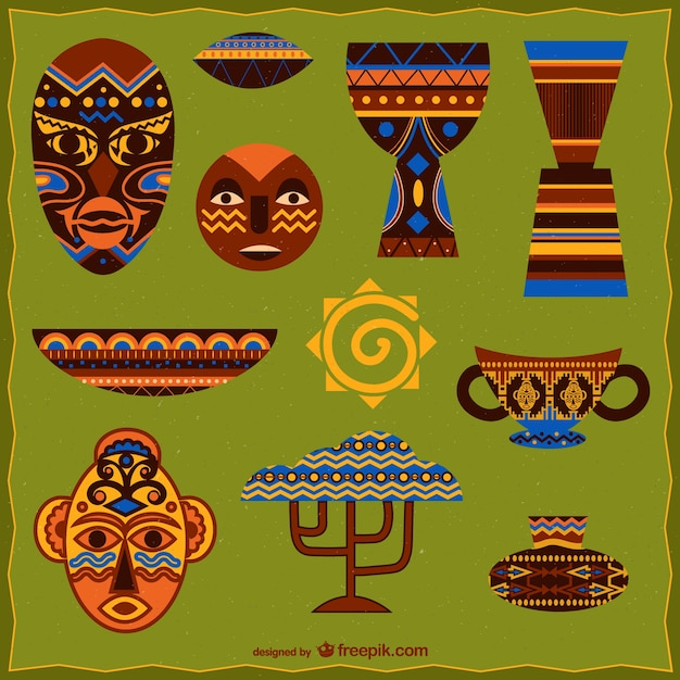 African graphic elements Free Vector