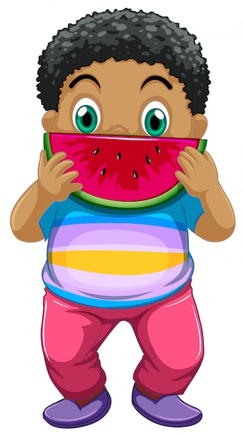 African kid eating watermelon Free Vector