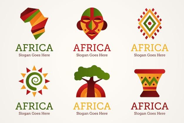 Набор шаблонов африканских логотипов Premium векторы