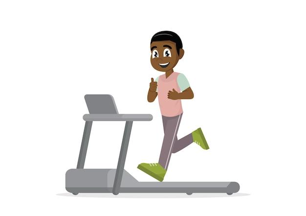 African man running on treadmill. Premium Vector