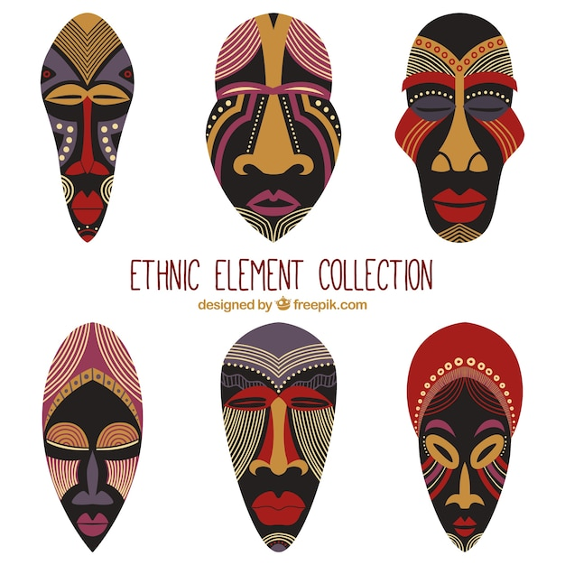 African masks set in ethnic style Free Vector