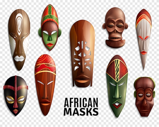 African masks transparent icon set Free Vector