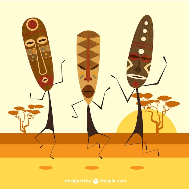 African masks Free Vector