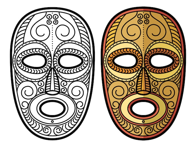 African, mexican aztec tribal mask isolated Premium Vector