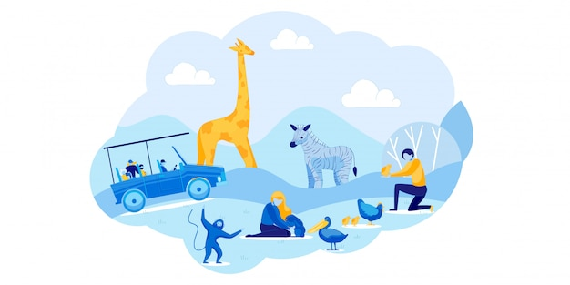 アフリカンサファリカーツアーとふれあい野外動物園 Premiumベクター