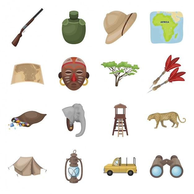 アフリカのサファリ漫画は、アイコンを設定します。動物孤立した漫画は、アフリカのサファリのアイコンを設定します。 Premiumベクター