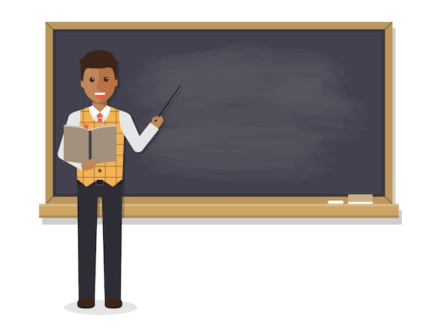 African teacher teaching in classroom. Premium Vector