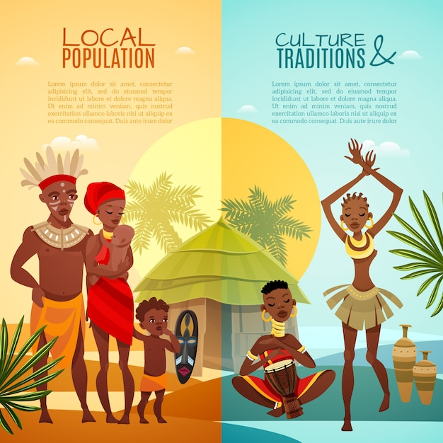 African tribal life vertical flat banners Free Vector