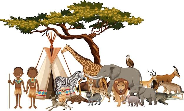흰색 바탕에 야생 아프리카 동물의 그룹과 아프리카 부족 무료 벡터
