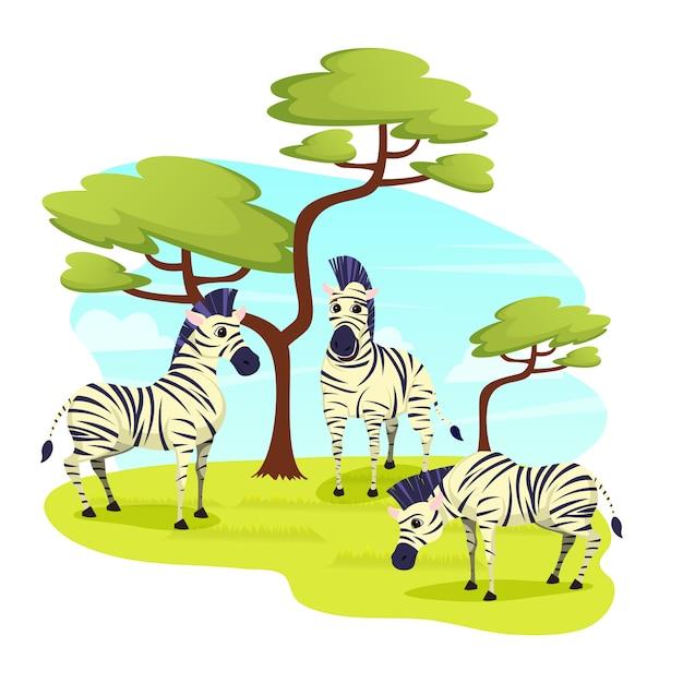 African wild zebras herd grazing in grasslands Premium Vector