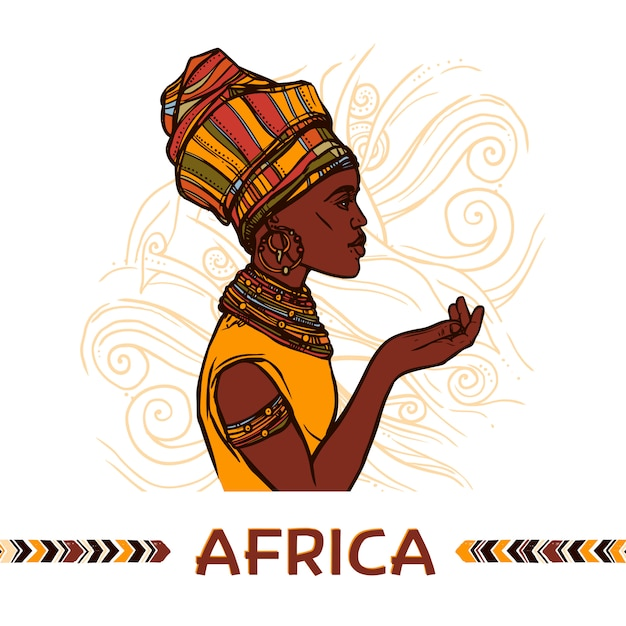 African woman portrait Premium Vector
