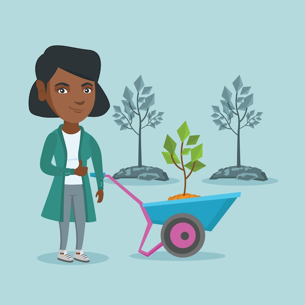 African woman pushing wheelbarrow with plant. Premium Vector