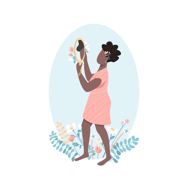 African woman self love flat color faceless character. positive female beauty. woman look in mirror. self acceptance isolated cartoon illustration Premium Vector