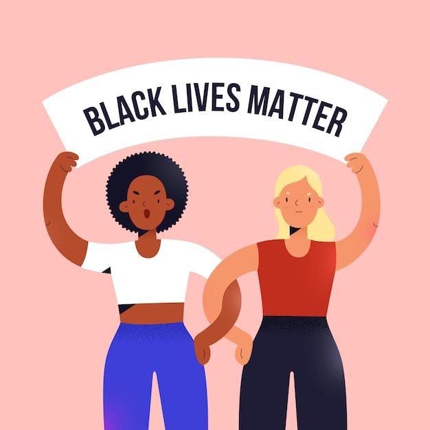 抗議、バナー、漫画イラストを保持しているアフリカ系アメリカ人と白人の女性 Premiumベクター