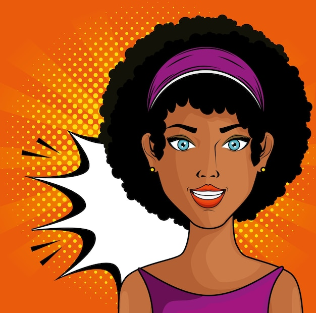 Afro american woman comic like pop art icon over orange background with yellow dots vector illustrat Premium Vector