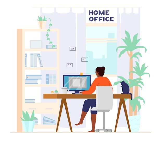 自宅の背面ビューからコンピューターで働くアフロアメリカンの女性。ホームオフィスのインテリア。仕事でフリーランサー。図。 Premiumベクター
