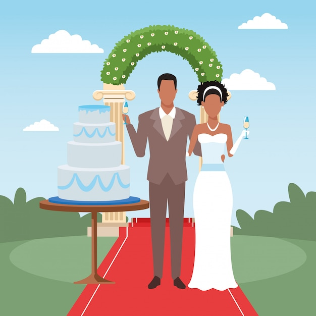 Afro just married couple with weeding cake and floral arch around Premium Vector