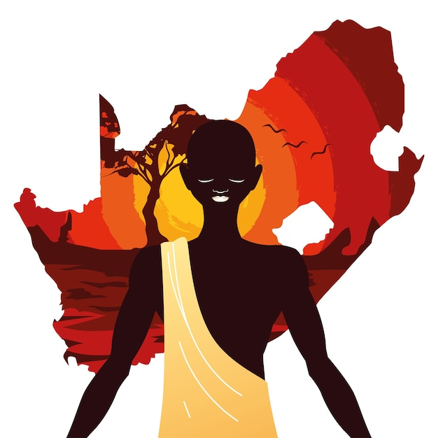Afro person with map of south africa in the background illustration Premium Vector